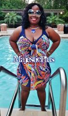 1 PIECE ABSTRACT SWIM DRESS w/SHEER OVERLAY COVER