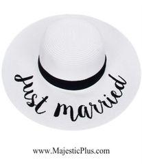 "Wide Brim ""Just Married"" Sun Hat"