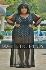 Black Mesh Cover-Up With Split & Open Sleeves