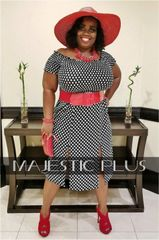 Off Shoulder Polka Dot Double Split Dress