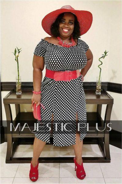 Off Shoulder Polka Dot Double Split Dress