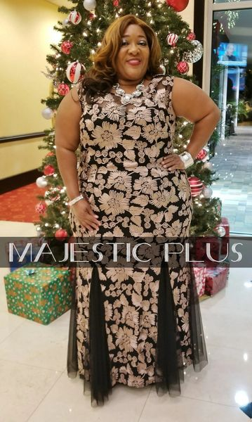 Gold & Black Corded Lace Evening Gown