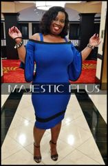 Off Shoulder Bell Sleeve Blue BodyCon