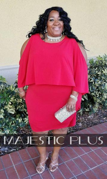 Hi-Lo Cold Shoulder Cape Bodycon Dress- Red