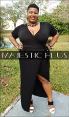 Black Wrap Dress with Split