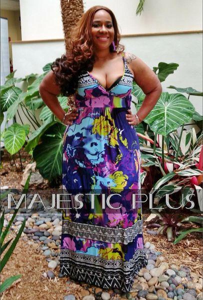 Purple Blotch Print Maxi Dress