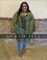 Chenille Frayed V-Neck Crochet Poncho