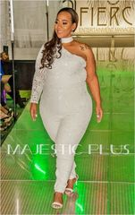 One Shoulder White Sequin Formal Jumpsuit