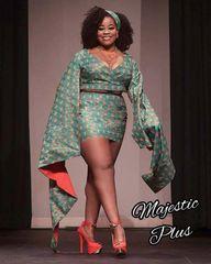 Ankara Mini Skirt & Crop Top Dress w/Tapered Sleeves