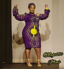 Dashiki Print Long Puffy Sleeve One Shoulder Dress
