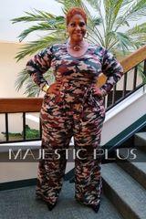 Camouflage Wide Legged Jumpsuit w/Waist Tie