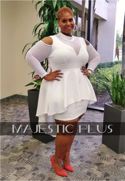 White Hi-Low Peplum BodyCon Cocktail Dress