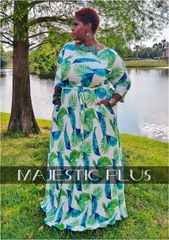 Tropical Leaf Maxi Dress-Blue/Green