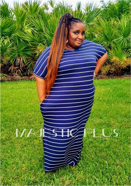 Striped Navy & White Summer Maxi Dress w/Pockets