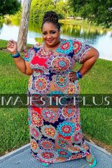 Mandala Print Maxi Dress w/Pockets