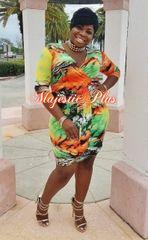 Tropical Mini Wrap Dress-Orange/Lime