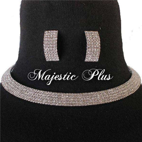 Rhinestone Choker Necklace Set