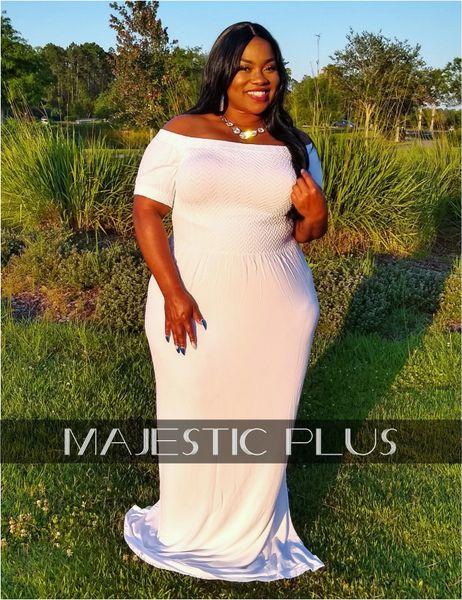 Off Shoulder Seamless Smock Bust Maxi Dress