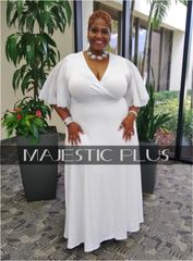 White Wrap Bust Dress w/ Crinkle Sleeves