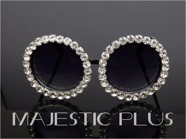 Oversize Round Retro Luxury Diamond Sunglasses