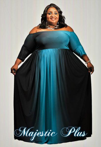 Off Shoulder Ombre Print Maxi Dress- Aqua Blue