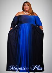 Off Shoulder Ombre Print Maxi Dress- Royal Blue