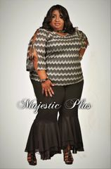 Chevron Knit Top with Open Sleeves & Ties