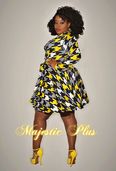 PRINTED SKATER DRESS- Navy Blue & Yellow Houndstooth