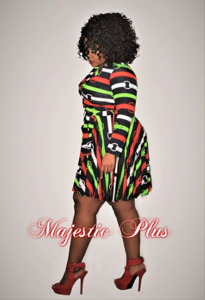 PRINTED SKATER DRESS- Red & Green Belt Buckle