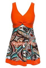 Orange Peacock Print Twisted Bust Swim Dress