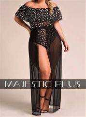 Open Front Mesh Cover-Up Skirt