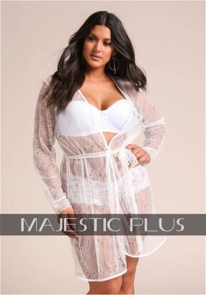 Lace Lingerie Robe- White