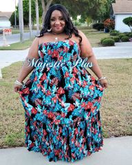 Tropical Crinkle Maxi dress