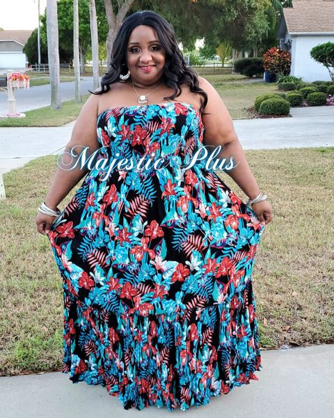 Tropical Crinkle Maxi dress