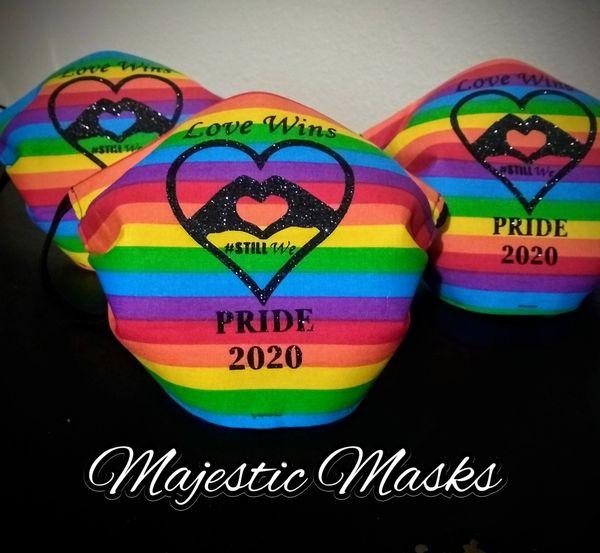 PRIDE 2020 Rainbow Glitter Logo Mask