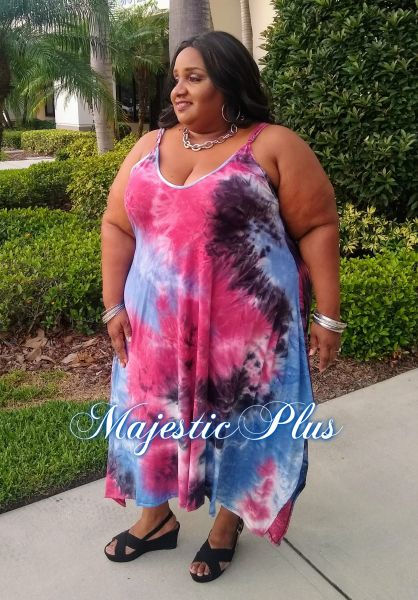 Tie Dye Pixie Hem Maxi Dress