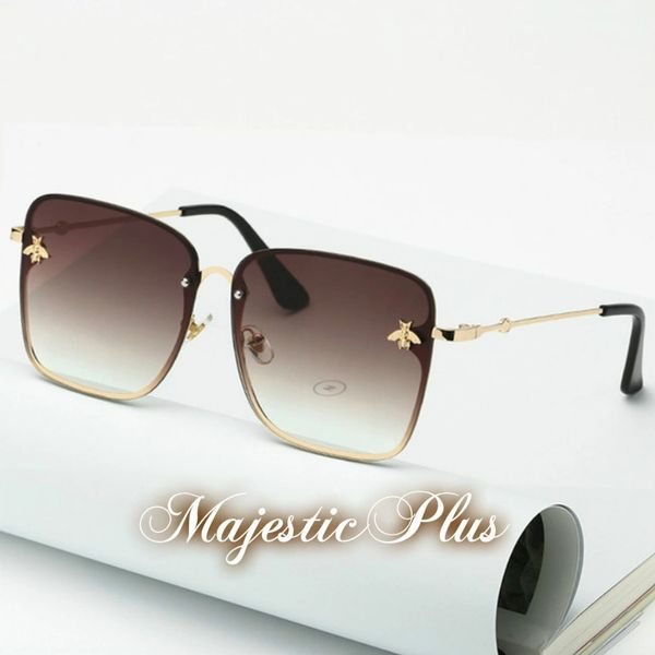Guccii Inspired Oversized Square Bee Sunglasses
