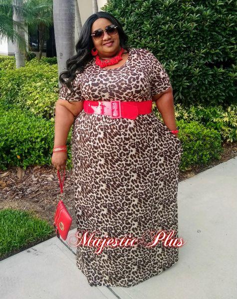 Short Sleeve Leopard Print Maxi Dress