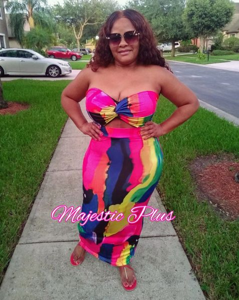 Multi Colored Strapless Hollow Out Maxi Dress