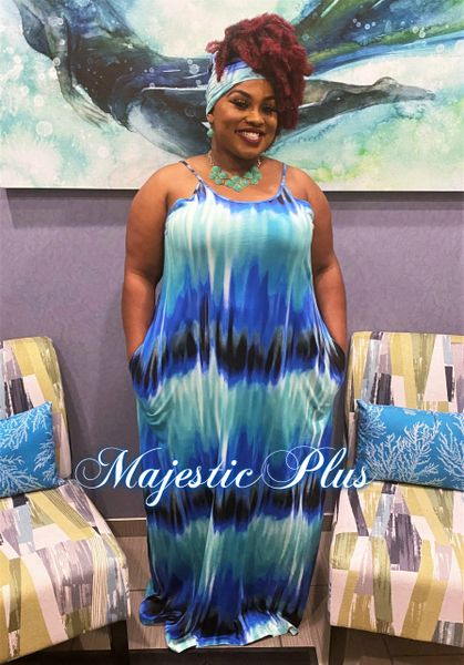 Blue & Green Tie Dye Maxi Dress with Belt/Headwrap