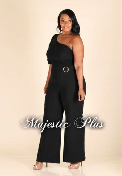 Black One Shoulder Jumpsuit w/ Belt & Double Layer Sleeve