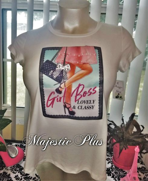Fitted Diva Tee- White GIRL BOSS