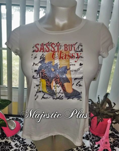 Fitted Diva Tee- White Sassy But Classy