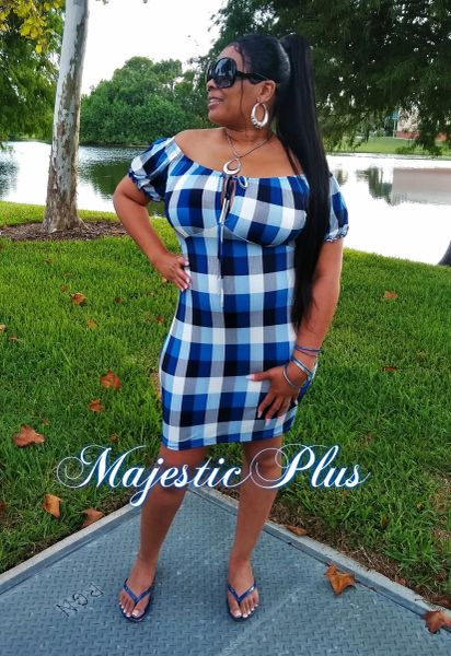 Off Shoulder Open Bust Plaid Fitted Dress