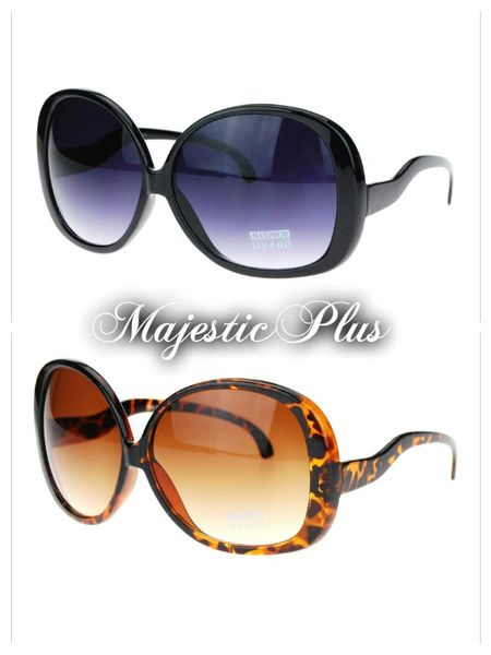 Extra Large Oversized Round Drop Temple Butterfly Sunglasses