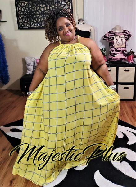 Sleeveless Waterfall Halter Maxi Dress w/Pockets