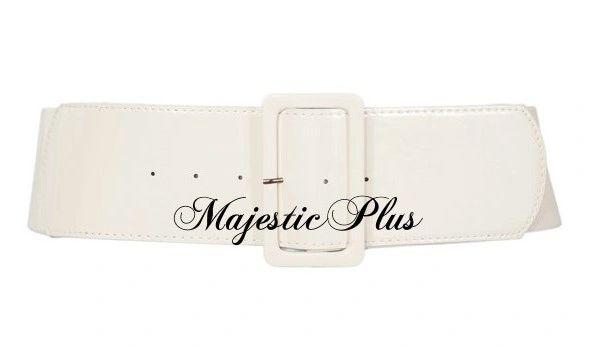 Plus Size Wide Stretch Belt- White