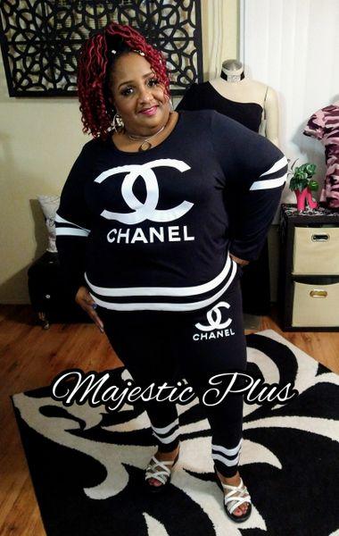 CC Chanel Inspired Striped 2-PC Leggings Set