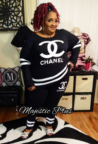 CC Chanel Inspired Striped 2-PC Leggings Set