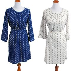 Pattern Polysilk Long Sleeved Shift Dress